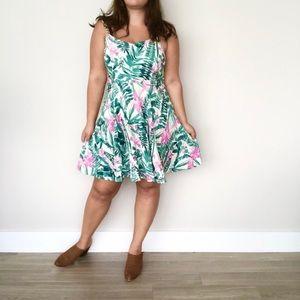Plus size palm leaf tropical print skater dress